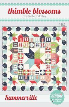 "Summerville pattern #192 70"" x 70"" quilt Materials Needed: * 1 fat eighth bundle (40 fat eighths) * 1 pink/red fat quarter for corner blocks * 3/4 ..."