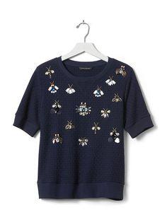 Jeweled Basketweave Pullover | Banana Republic