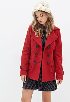 """under $25 + take 10% off w code """"10GURAJ"""", limited time only {F21 Double Breasted Woven Coat in red}"""