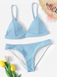 a44914015e726 Seam Detail Triangle Top With Panty Bikini Set -SHEIN(SHEINSIDE) Romwe  Swimwear,