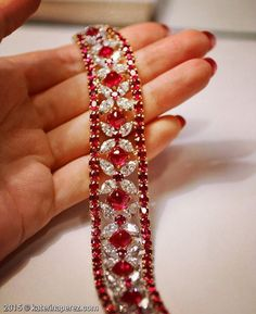 """Best Diamond Bracelets : """"How gorgeous is this bracelet with and faceted - Fashion Inspire Ruby Jewelry, Turquoise Jewelry, Diamond Jewelry, Jewelery, Fine Jewelry, Craft Jewelry, Jewellery Rings, Diamond Bracelets, Silver Bracelets"""