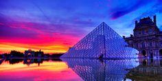 Louvre Paris Pink Pyramid Sky Sunset Water Luxury