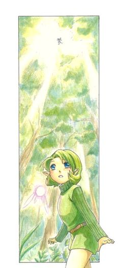 The Lost Woods, Saria and her fairy, and a Skull Kid - The Legend of Zelda: Ocarina of Time