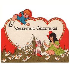 996 best valentines children vintage images on pinterest in 2018 vintage 1930s art deco valentine greeting card kids with a dog and daisies m4hsunfo