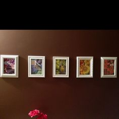 Cheap home decor. I purchased some different styles of 5x7 frames and painted them all white. I then used pictures of like colors in each of the frames to add some vibrant colors into the room.