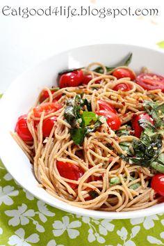 Tomato, Basil and Garlic Whole Wheat Pasta - Eat Good 4 Life Whole Wheat Noodles, Whole Wheat Spaghetti, Whole Wheat Pasta, Wheat Pasta Recipes, Spaghetti Recipes, Rice Recipes, Healthy Cooking, Healthy Eating, Al Dente