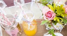 Hire our vintage style milk bottles, signage and create your own drinks stations for your guests to enjoy. Use jam jars to display straws. All available from Fuschia. Fill with lots of lovely fruit juices!