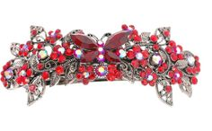Rhinestone Hair Barrette - barrettec0043 - red ** Want additional info? Click on the image.