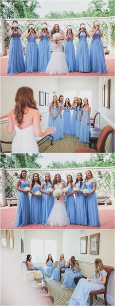 periwinkle blue off the should long bridesmaid dresses