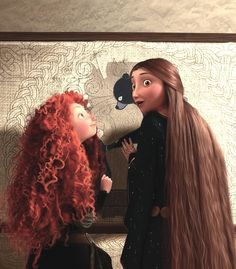 (previouse pinner) Merida & Queen Elinor. has anyone noticed that merida is wearing her coronation dress? or pretty close to it. see her belt?!