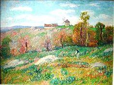 Henry Moret  Escena campestre en verano: Pueblo con Molino de viento, ca 1890