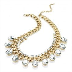 Gold Colour Chain necklace With Crystal Drop