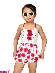 Купить детские купальники и плавки в интернет-магазине MamaEmma.ru. Купальный костюм для девочки Arina by Charmante Stellone слитный с шортиками