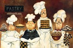 Four Pastry Chefs Art Print fat chef wall art funny chefs paintings brown kitchen art desserts, Vickie Wade Art Fat Chef Kitchen Decor, Apple Kitchen Decor, Kitchen Art, Funny Kitchen, Kitchen Dinning, Kitchen Design, Brown Kitchens, Illustration, Le Chef