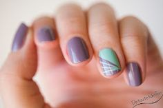 Purple and mint pastel nails