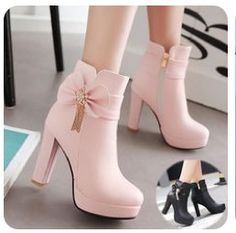 White/Pink/Black Pastel Bow High Heel Boots Source by rdwijulianto shoes high heels Cute Heels, Lace Up Heels, Pumps Heels, Stiletto Heels, Pink Heels, Dr Shoes, Nike Shoes, High Heel Sneakers, Shoes Jordans