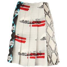 Prada Skirts found on Polyvore featuring skirts, white, prada skirt, white skirt, white knee length skirt and prada