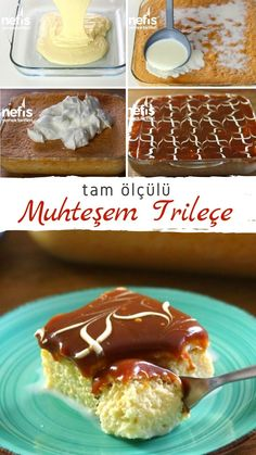 How is Trileçe Made? - The anticipated moment of the day! With its soft milk cake and caramel sauce, it has taken the plac - Ramadan Desserts, Dinner Party Desserts, Snacks Für Party, Dessert Stand, Chocolate Pastry, Chocolate Desserts, Delicious Desserts, Yummy Food, Fingerfood Party