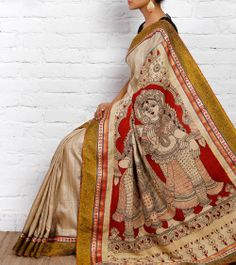Beige Handloom Tussar Silk Saree with Kalamkari | Pakhi
