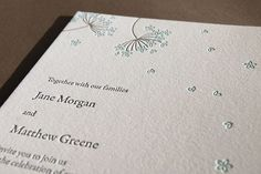 Queen Anne's Lace letterpress wedding invitation by pistachiopress
