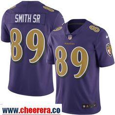 Men's Baltimore Ravens 89 Steve Smith Sr Nike Purple Color Rush Limited Jersey