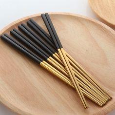 Black Dinnerware, Dinnerware Sets, Chopstick Holder, Gold Set, Black Metal, Flatware, Sushi, Chinese, Pairs