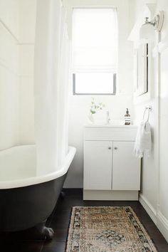 White Bathroom with Black Claw Foot Tub, Transitional, Bathroom