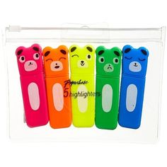 Paperchase 5 Pack Bear Highlighter Pens ($4.37) ❤ liked on Polyvore featuring home, home decor, office accessories, stationary, office, office supplies and paperchase