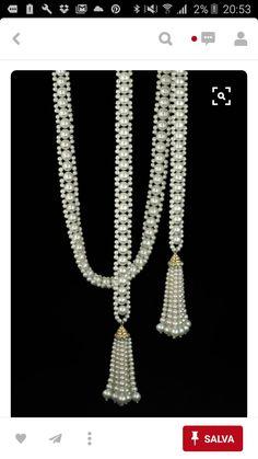 double sautoir with tassels , by Marina J Más Bead Jewellery, Seed Bead Jewelry, Pearl Jewelry, Wedding Jewelry, Beaded Jewelry, Handmade Jewelry, Jewelry Necklaces, Beaded Bracelets, Pearl Necklaces