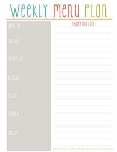 Weekly Menu Plan by michellesparks on Etsy, $1.20