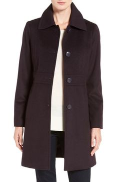 Main Image - Kristen Blake Wool Blend Walking Coat (Regular & Petite)