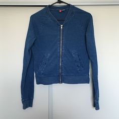 Faux Denim Jacket Very cute and petite faux denim jacket. Material is pretty soft made out of 100% cotton. Jackets & Coats Jean Jackets