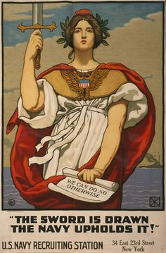 U.S. Navy World War I recruiting poster. This is brilliant and just fantastic artwork.