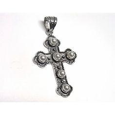 fbc55a5390c6 Colgante de plata de primera ley cruz oxy con perlas de 4 cm de largo.