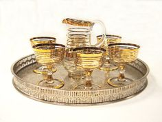 Mid Century Gilded French Liqueur Set by Yonks on Etsy
