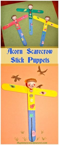 Acorn Scarecrow Stick Puppets