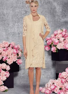 Mother of the Bride Dresses - $149.99 - Sheath/Column Scoop Neck Knee-Length Lace Mother of the Bride Dress (0085102392)