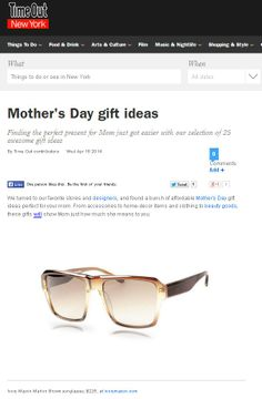 Ivory Mason sunnies on Time Out NY.com Mother's Day Gift Guide!