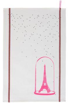tea towel eiffel towel neon pink la cerise sur le gateau Torchon Eiffel rose