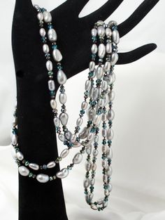 Necklace Silver Pearl Teal and Black Crystals by LindyLeeTreasures #Christmas #Gifts #Pearls