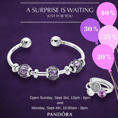 Beginning today, Aug 31st, and until Sept 4th spend $125 on Pandora Jewelry and receive a Peel & Reveal card for a special discount up to 40% on your Pandora purchase. Visit store for details. Open Sunday, Sept 3rd 12pm to 6pm and Monday, Sept 4th 10am to 8pm. #MiamiLakesJewelers #Pandorajewelry @MiamiLakesJewelers