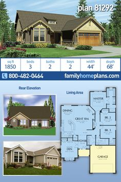 Bungalow, Craftsman, Narrow Lot House Plan 81292 with 3 Beds, 2 Baths, 2 Car Garage Bungalow House Plans, Cottage House Plans, Craftsman House Plans, Cottage Homes, House Floor Plans, Narrow Lot House Plans, House Plans One Story, Family House Plans, Three Bedroom House Plan