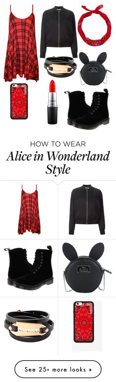 """""""Red & Black"""" by preciousliljane on Polyvore featuring WearAll, Dr. Martens, New Look, T By Alexander Wang, MAC Cosmetics, Disney and McQ by Alexander McQueen"""