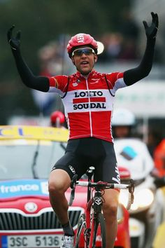 What a stage! Tony Gallopin of celebrates after winning stage six of Paris-Nice