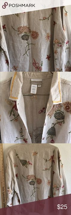 Coldwater creek embroider linen jacket lightweight Never worn size petite extra-large Coldwater creek gorgeous linen type fabric with wonderful embroidery and ribbon trim on the sleeves Coldwater Creek Tops