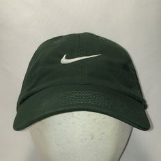 277ec4f92b9 Vintage Nike Hat Green White Swoosh Strapback Baseball Cap Golfing Fishing Outdoor  Sports Hats For Men Cool Dad Cap Gifts For Guys T31 F9042