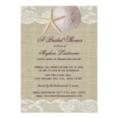 Lace and Sand Dollar Beach Bridal Shower Announcement