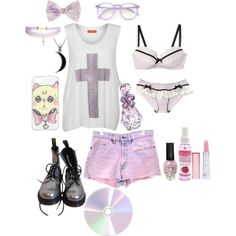 A fashion look from July 2015 featuring Influence tops, Levi's shorts and Dr. Browse and shop related looks. Pastel Goth Outfits, Pastel Goth Fashion, Pastel Outfit, Kawaii Fashion, Punk Fashion, Grunge Fashion, Gothic Fashion, Fashion Outfits, Fashion Top