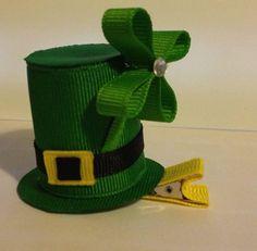 St+Patrick's+Day+Hat+Ribbon+Sculpture+Hair+Clip+by+lilsassybugwear,+$6.00