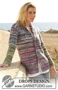 """DROPS 106-29 - DROPS jacket with collar in double thread """"Fabel"""". FREE pattern by DROPS Design (1/2)"""